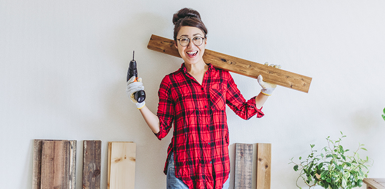 female completing DIY projects