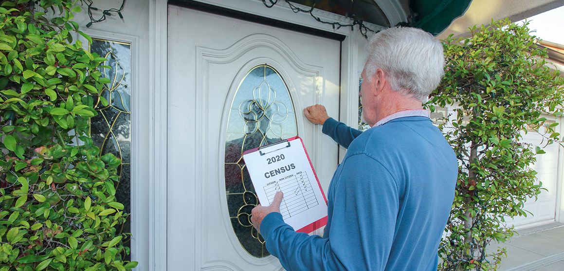 census representative knocking on door